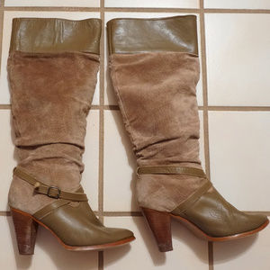 Vintage Suede Leather Buckled Slouch Riding Boots